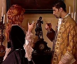 Redhead noblewoman banged in historical dress